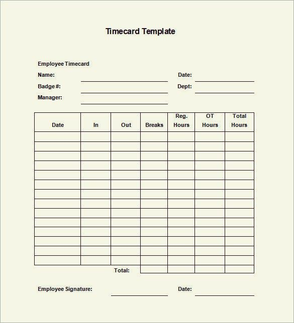 free time card template