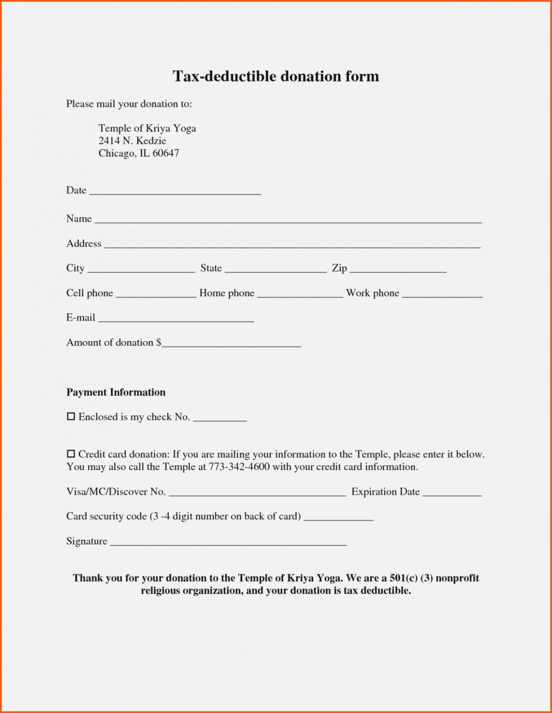 year end donation receipt template