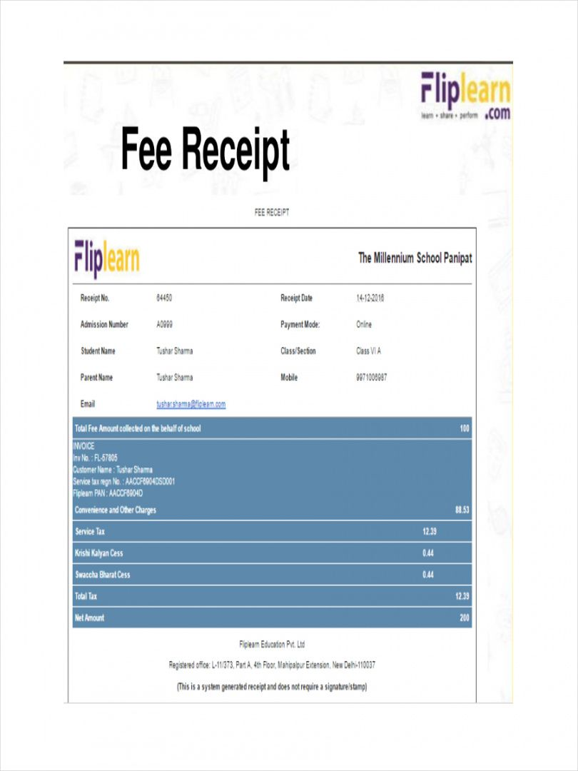 tuition fee receipt template