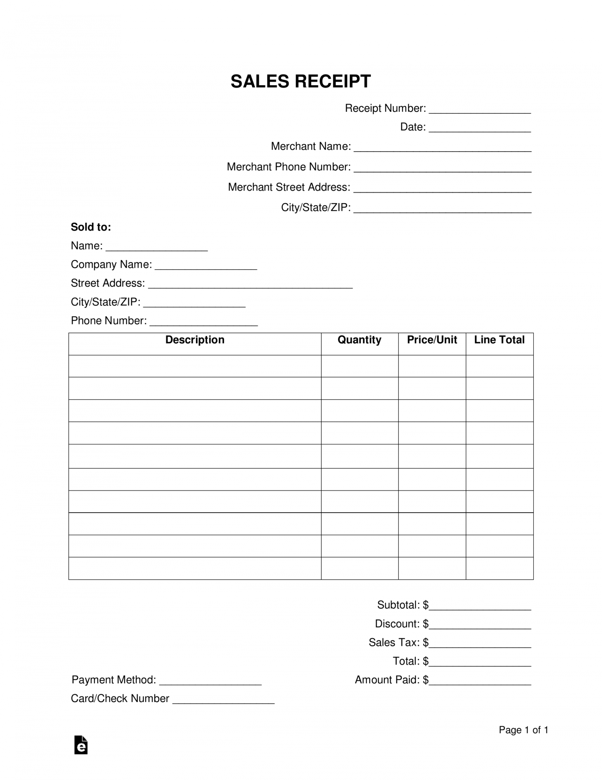 Printable Free Sales Receipt Template Word Pdf Eforms Free Merchandise Receipt Template Sample ...