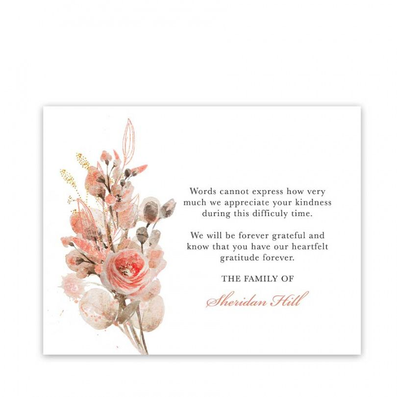 sample of sympathy thank you card customized with your
