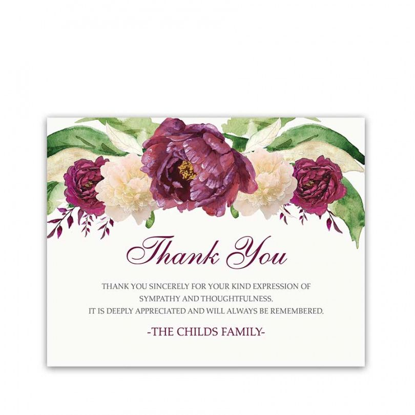 sample of sympathy thank you card for condolences purple